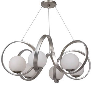 Stellar Antique Silver Six-Light Chandelier