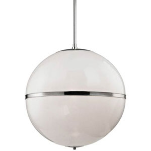 Baker Polished Nickel 30-Inch Three-Light Globe Pendant