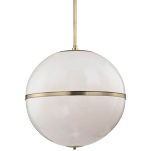 Baker Aged Brass 30-Inch Three-Light Globe Pendant
