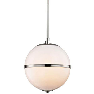 Baker Polished Nickel 16-Inch Three-Light Globe Pendant