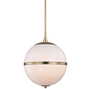 Baker Aged Brass 16-Inch Three-Light Globe Pendant