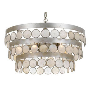 Brittany Antique Silver 22-Inch Six-Light Pendant