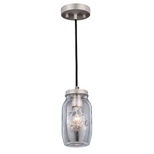 Matte Nickel One-Light Mason Jar Mini Pendant