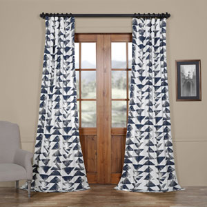 Triad Indigo 84 x 50 In. Printed Cotton Twill Curtain Single Panel