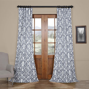 Coastal Blue 96 x 50 In. Printed Cotton Twill Curtain Single Panel