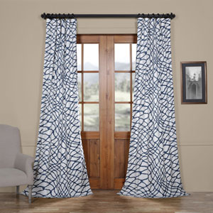 Ocean Blue 96 x 50 In. Printed Cotton Twill Curtain Single Panel