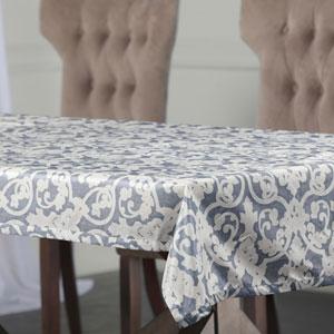 Classical Blue 84 x 54 In. Faux Silk Taffeta Table Cloth