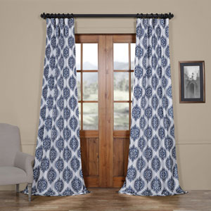 Moroccan Blue 96 x 50 In. Faux Silk Taffeta Blackout Curtain
