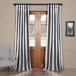 Grey and Cream Faux Silk Taffeta Stripe Single Panel Curtain, 50 X 84