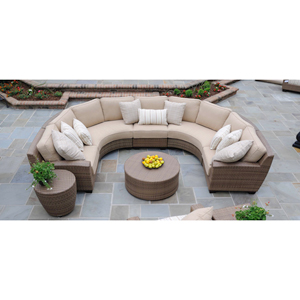 Saddleback Sailcloth Sand Curved Sectional Lounge Set