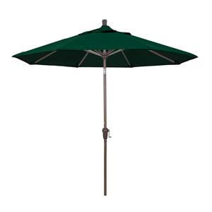 9 Foot Umbrella Aluminum Market Auto Tilt Champagne/Sunbrella/Forest Green