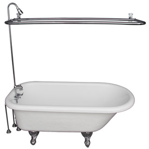 Polished Chrome Tub Kit 67-Inch Acrylic Roll Top, Shower Unit, Supplies, and Drain