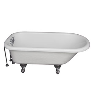 Polished Chrome Tub Kit 67-Inch Acrylic Roll Top, Tub Filler, Supplies, and Drain