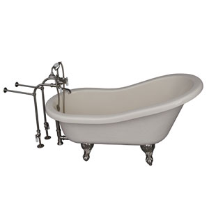 Brushed Nickel Tub Kit 60-Inch Acrylic Slipper, Tub Filler, Supplies, and Drain