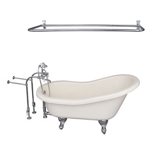 Polished Chrome Tub Kit 60-Inch Acrylic Slipper, Shower Rod, Filler, Supplies, and Drain