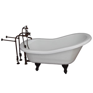 Oil Rubbed Bronze Tub Kit 60-Inch Acrylic Slipper, Tub Filler, Supplies, and Drain
