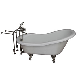 Brushed Nickel Tub Kit 67-Inch Acrylic Slipper, Tub Filler, Supplies, and Drain