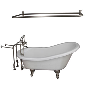 Brushed Nickel Tub Kit 67-Inch Acrylic Slipper, Tub Filler, Shower Rod, Supplies, and Drain