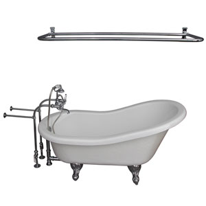 Polished Chrome Tub Kit 67-Inch Acrylic Slipper, Tub Filler, Shower Rod, Supplies, and Drain