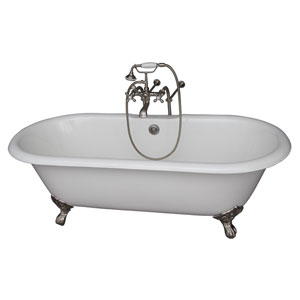 Brushed Nickel Tub Kit 67-Inch Cast Iron Double Roll Top, Filler, Supplies, and Drain
