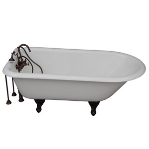 Oil Rubbed Bronze Tub Kit 67-Inch Cast Iron Roll Top, Tub Filler, Supplies, and Drain
