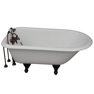 Oil Rubbed Bronze Tub Kit 54-Inch Cast Iron Roll Top, Filler, Supplies, and Drain