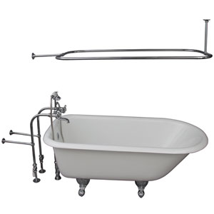 Polished Chrome Tub Kit 60-Inch Cast Iron Roll Top, Shower Rod, Filler, Supplies, and Drain