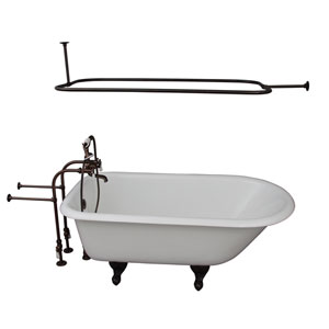 Oil Rubbed Bronze Tub Kit 60-Inch Cast Iron Roll Top, Shower Rod, Filler, Supplies, and Drain