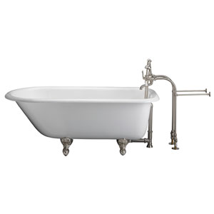 Brushed Nickel Tub Kit 60-Inch Cast Iron Roll Top, Tub Filler, Supplies, and Drain