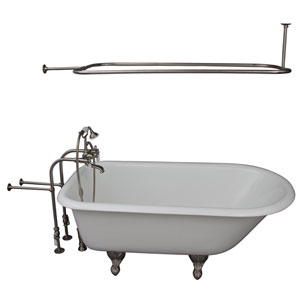 Brushed Nickel Tub Kit 60-Inch Cast Iron Roll Top, Shower Rod, Filler, Supplies, and Drain
