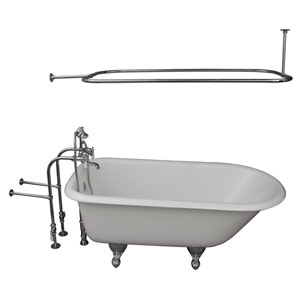 Polished Chrome Tub Kit 67-Inch Cast Iron Roll Top, Shower Rod, Filler, Supplies, and Drain