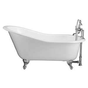Polished Chrome Tub Kit 60-Inch Cast Iron Slipper, Tub Filler, Supplies, and Drain