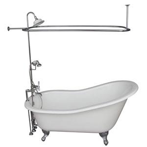 Polished Chrome Tub Kit 60-Inch Cast Iron Slipper, Shower Unit, Supplies, and Drain