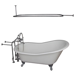 Polished Chrome Tub Kit 60-Inch Cast Iron Slipper, Shower Rod, Filler, Supplies, and Drain