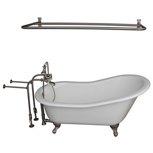 Brushed Nickel Tub Kit 60-Inch Cast Iron Slipper, Shower Rod, Filler, Supplies, and Drain