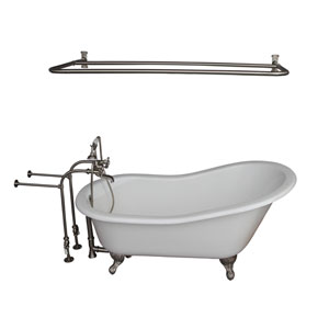 Brushed Nickel Tub Kit 67-Inch Cast Iron Slipper, Shower Rod, Filler, Supplies, and Drain