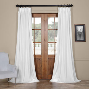 Signature Off White 25 x 84-Inch Signature French Pleated Blackout Velvet Curtain