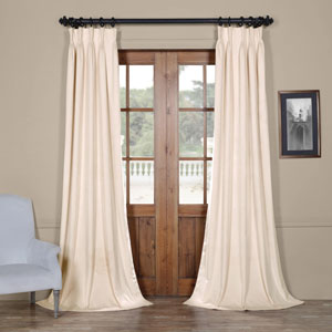Signature Ivory 25 x 96-Inch Signature French Pleated Blackout Velvet Curtain