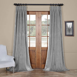 Signature Silver Gray 25 x 84-Inch Signature French Pleated Blackout Velvet Curtain