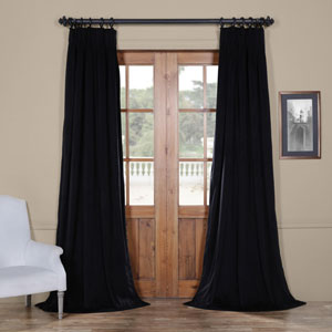 Signature Warm Black 25 x 84-Inch Signature French Pleated Blackout Velvet Curtain