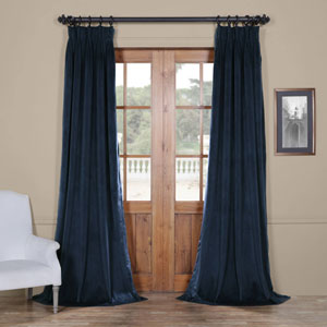 Signature Midnight Blue 25 x 84-Inch Signature French Pleated Blackout Velvet Curtain