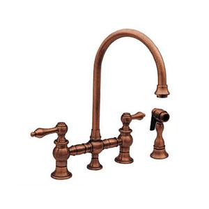 Vintage III Antique Copper 8.13-Inch Bridge Faucet w/Long Gooseneck Swivel Spout, Lever Handles and Solid Brass Side Spray