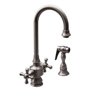 Vintage III Polished Chrome 5.25-Inch Dual Handle Entertainment/Prep Faucet w/Short Gooseneck Swivel Spout, Cross Handles and Solid Brass Side Spray