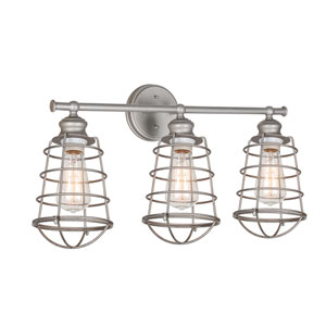 Ajax Galvanized 3-Light Bathroom Vanity Light