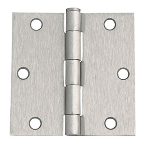 Satin Nickel Six-Hole Square Door Hinge, 3.5-Inch by 3.5-Inch