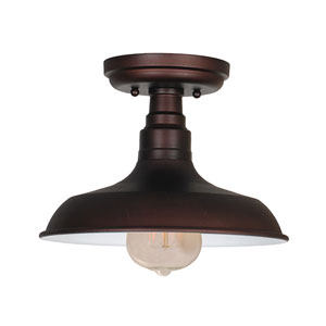 Kimball Textured Bronze 1-Light Ceiling Mount Industrial Light
