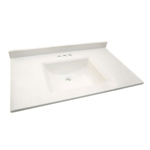 Camilla Vanity Top with 4-Inch Backsplash, 25-inches by 22-inches, Solid White