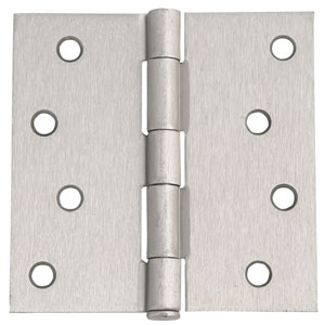Satin Nickel Eight-Hole Square Door Hinge, 4-Inch by 4-Inch