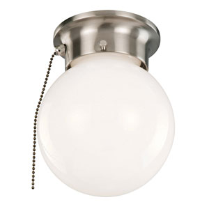 Satin Nickel Single Light Ceiling Mount Globe with Pull Chain