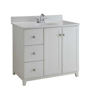 Furniture-Style Vanity Cabinet, 36-inches by 21-inches, Semi-Gloss White